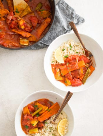 Roasted Vegetable Stew with Lemon Herb Couscous | Sarcastic Cooking #meatlessmonday #comfortfood #stew