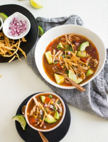 Avocado Lime Chicken Tortilla Soup for BOTH the #slowcooker and #instantpot | Sarcastic Cooking