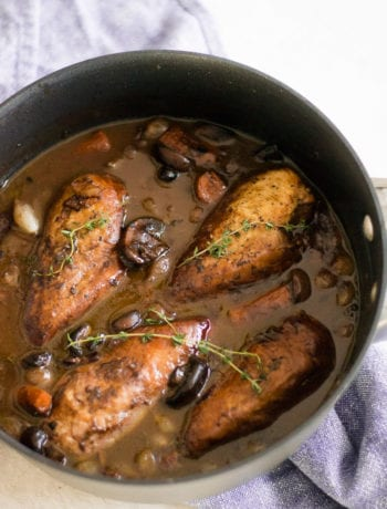 Coq au Vin - Red wine braised chicken with carrots, mushrooms, and onions | Sarcastic Cooking #onepotmeal #slowcooker #chickendinner