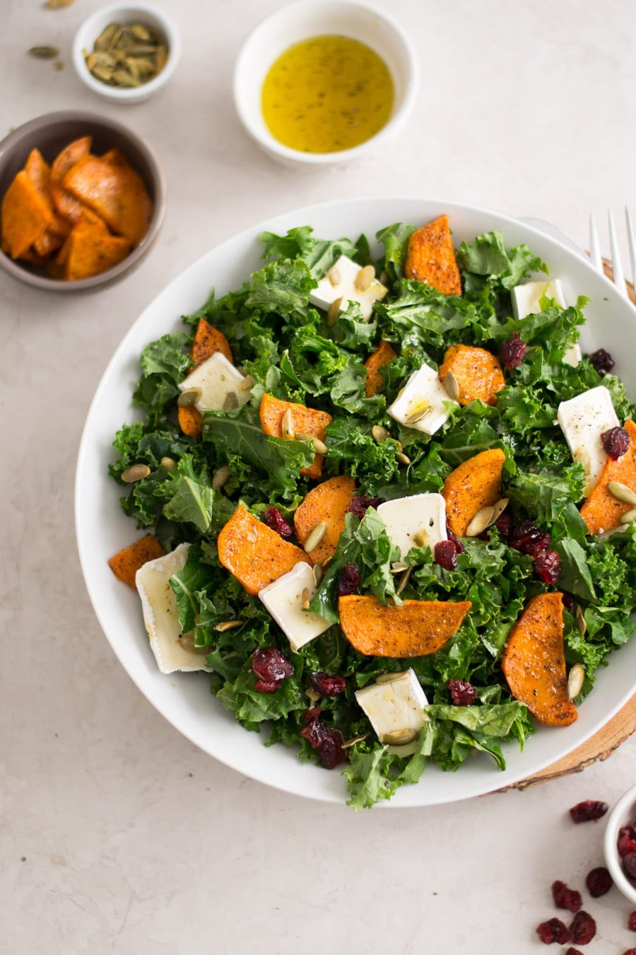 Kale, Sweet Potato, and Brie Salad | Sarcastic Cooking