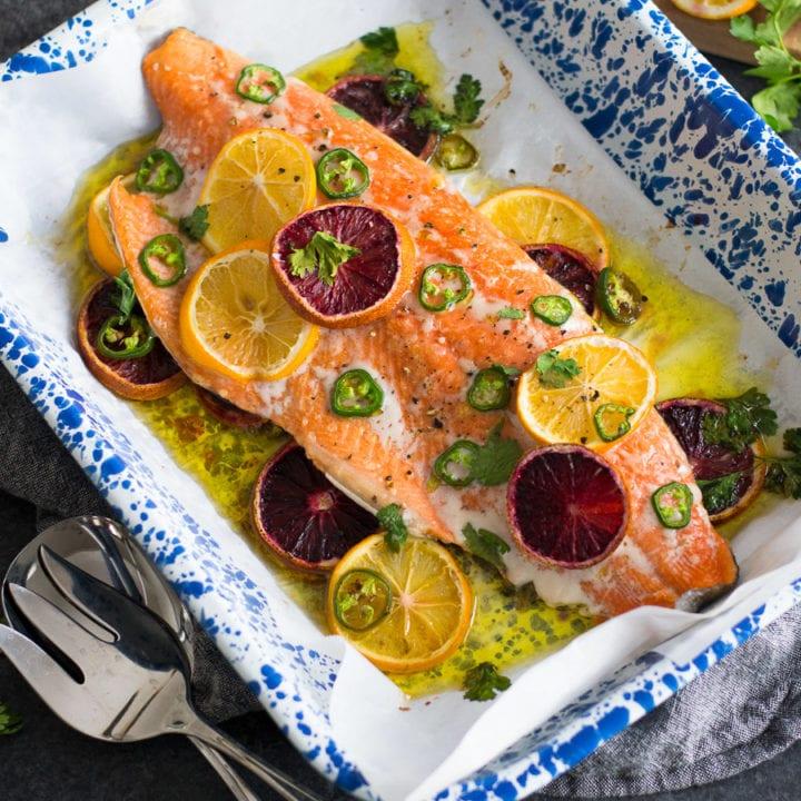 Blood Orange Jalapeño Baked Salmon | Sarcastic Cooking