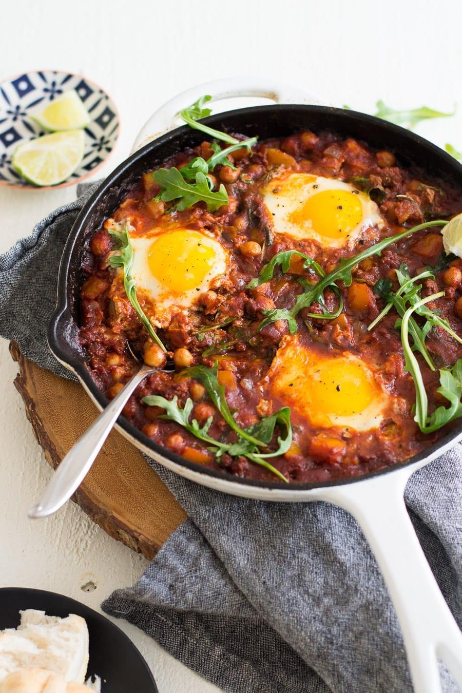 Chickpea and Chorizo Shakshuka   Sarcastic Cooking #shakshuka #onepotmeal #eggdish