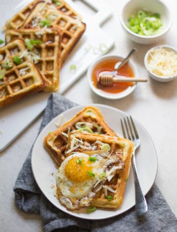 Cheddar Scallion Waffles | Sarcastic Cooking #waffles #smallbatch #breakfast