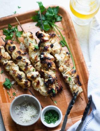 Grilled Garlic Parmesan Chicken Skewers| Sarcastic Cooking