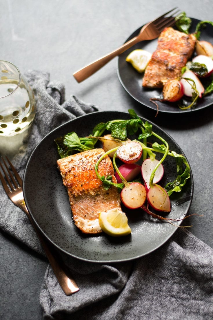 Brown Butter Salmon and Radishes