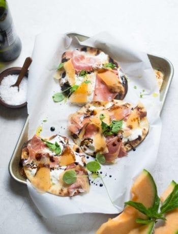 Grilled Burrata, Melon, and Prosciutto Flatbread Pizza | Sarcastic Cooking