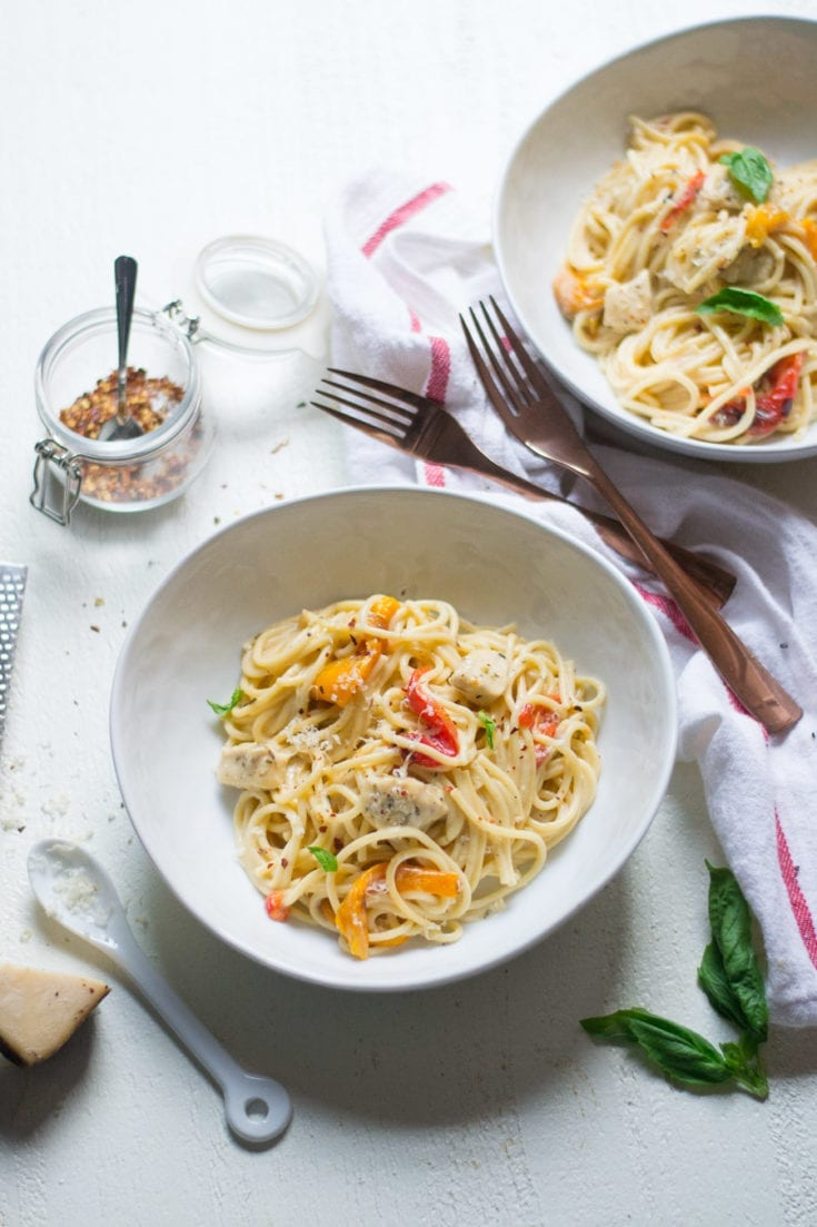 Creamy Chicken And Roasted Red Pepper Spaghetti Sarcastic Cooking