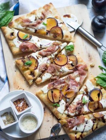 Plum, Prosciutto, & Mozzarella Pizza | Sarcastic Cooking