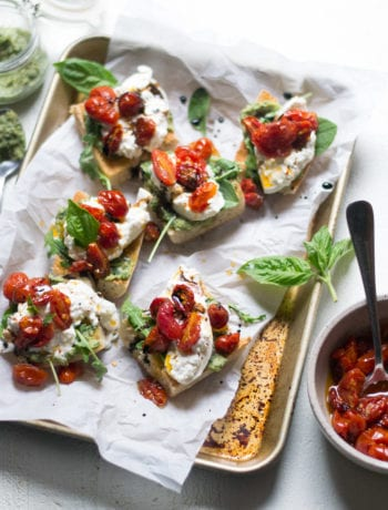 Tomato Confit and White Bean Pesto Bruschetta | Sarcastic Cooking #bruschetta