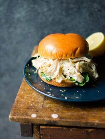 Slow Cooker Lemon Garlic Chicken Sandwiches   sarcastic Cooking