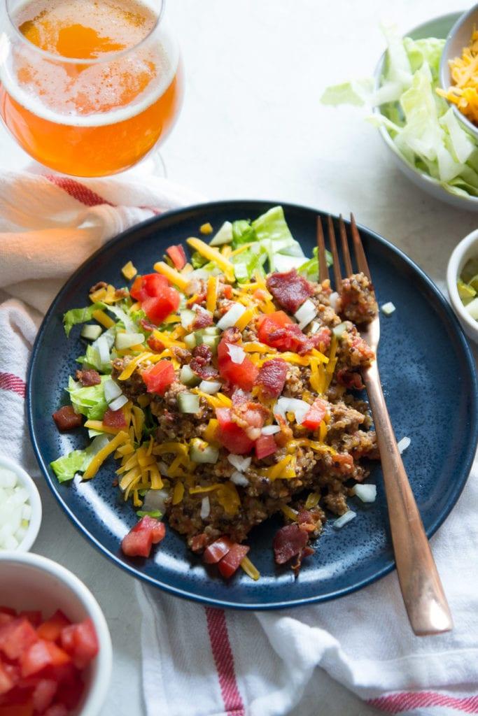 Instant Pot Loaded Bacon Cheeseburger Quinoa | Sarcastic Cooking
