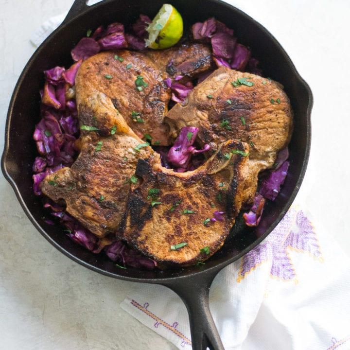 Skillet Asian Pork Chops with Red Cabbage | Sarcastic Cooking