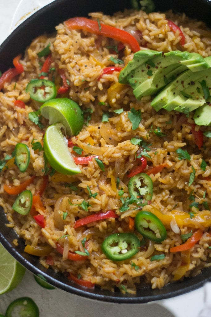 One Skillet Fajita Veggie Loaded Mexican Rice | Sarcastic Cooking