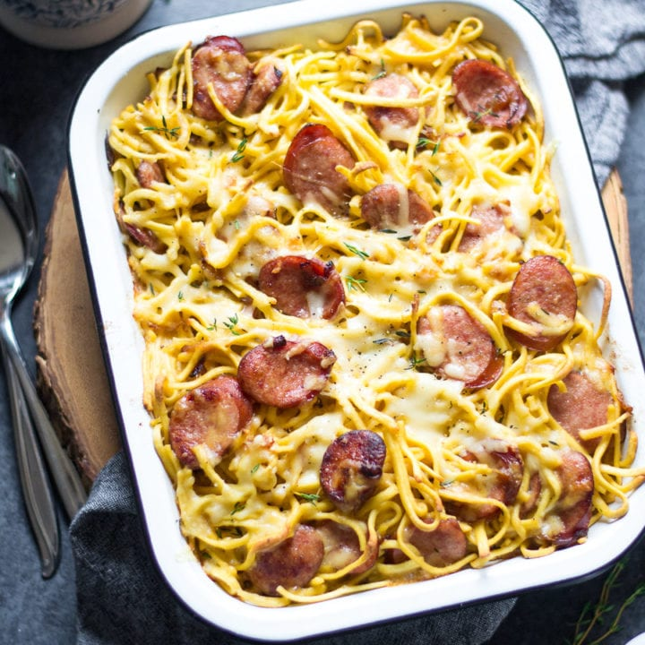 Cheesy Kielbasa and Spaetzle Casserole | Sarcastic Cooking