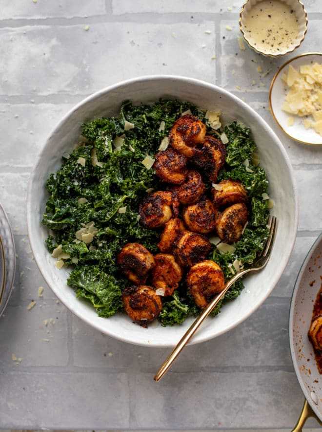 Shrimp Kale Caesar Salad - Blackened Shrimp Kale Caesar Salad