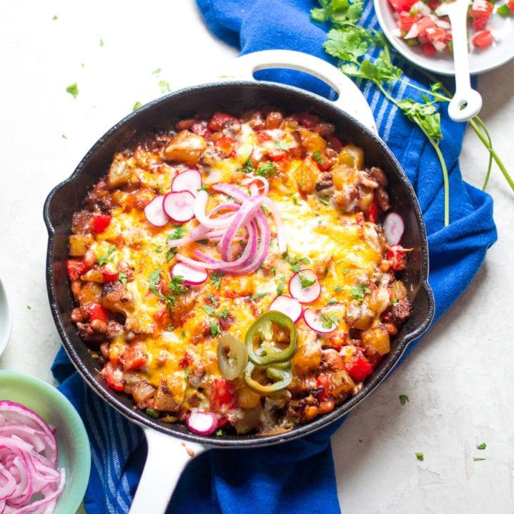 Cheesy Beef and Potato Enchilada Skillet