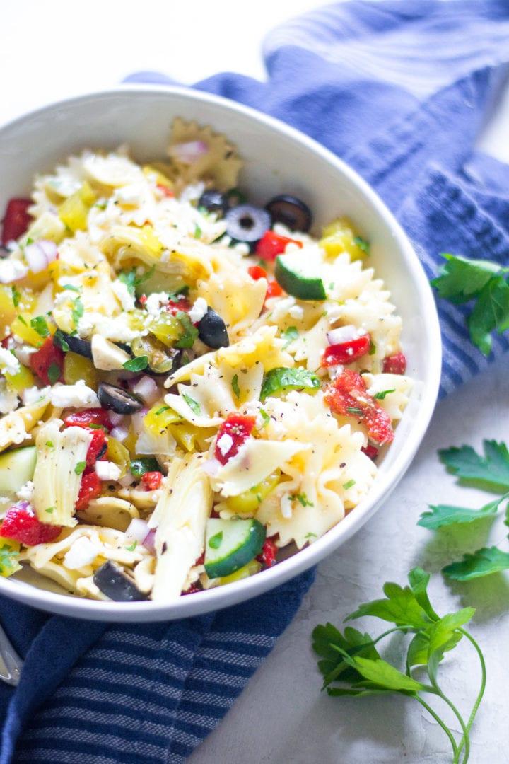 Greek vegetable and feta pasta salad | sarcastic cooking