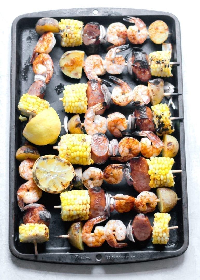 Easy, grilled shrimp boil skewers | sarcastic cooking