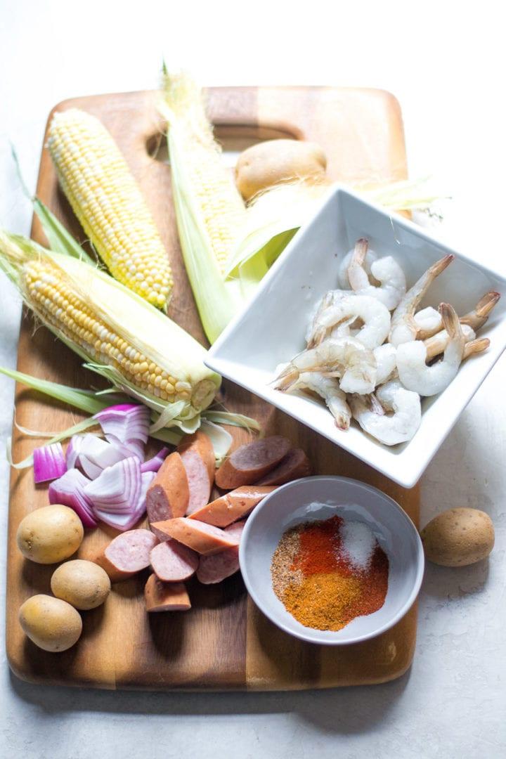 assemble ingredients for shrimp boil skewers | sarcastic cooking