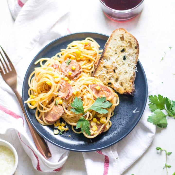 Creamy Corn and Sausage Spaghetti