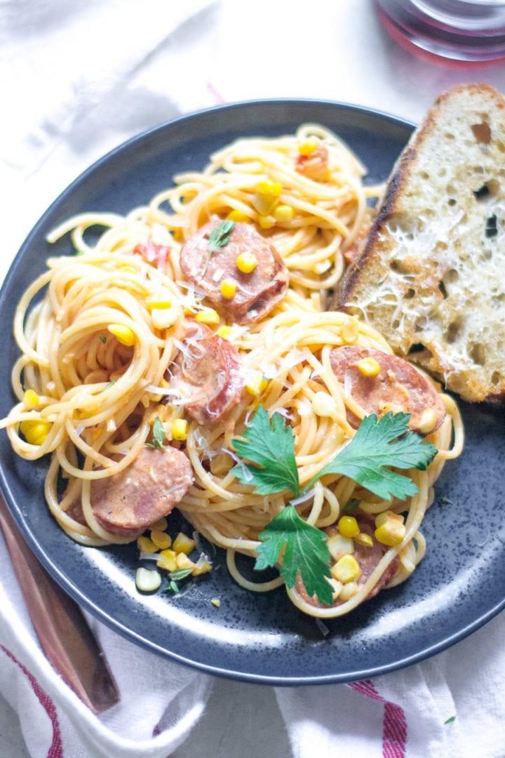Creamy Corn Pasta with Sausage | Sarcastic Cooking