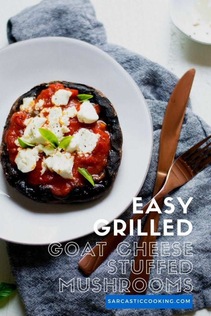 easy grilled goat cheese stuffed mushrooms | sarcastic cooking
