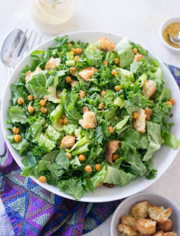 Vegan Kale Caesar Salad with Crispy Croutons | Sarcastic Cooking