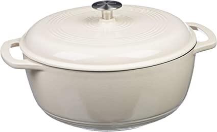 AmazonBasics Enameled Cast Iron Dutch Oven - 6-Quart, White