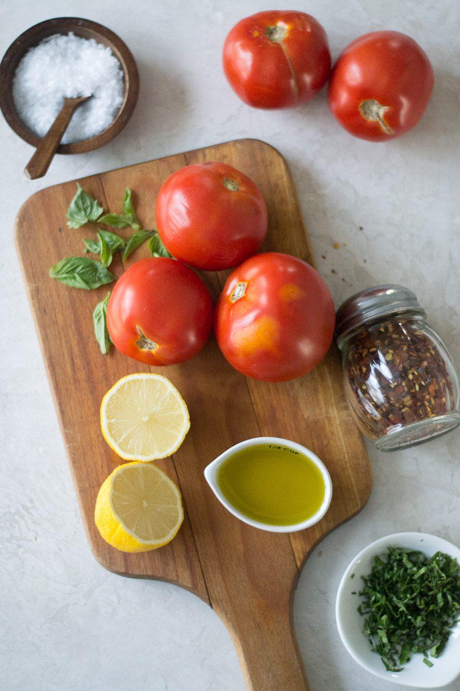 Fresh Tomato Pasta Ingredients | Sarcastic Cooking