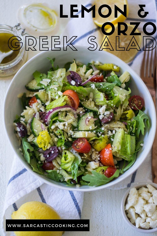 Lemon Orzo Greek Salad | sarcastic Cooking