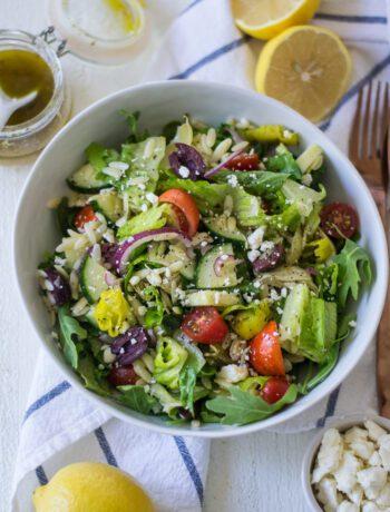 Lemon and Orzo Greek Salad - Sarcastic Cooking