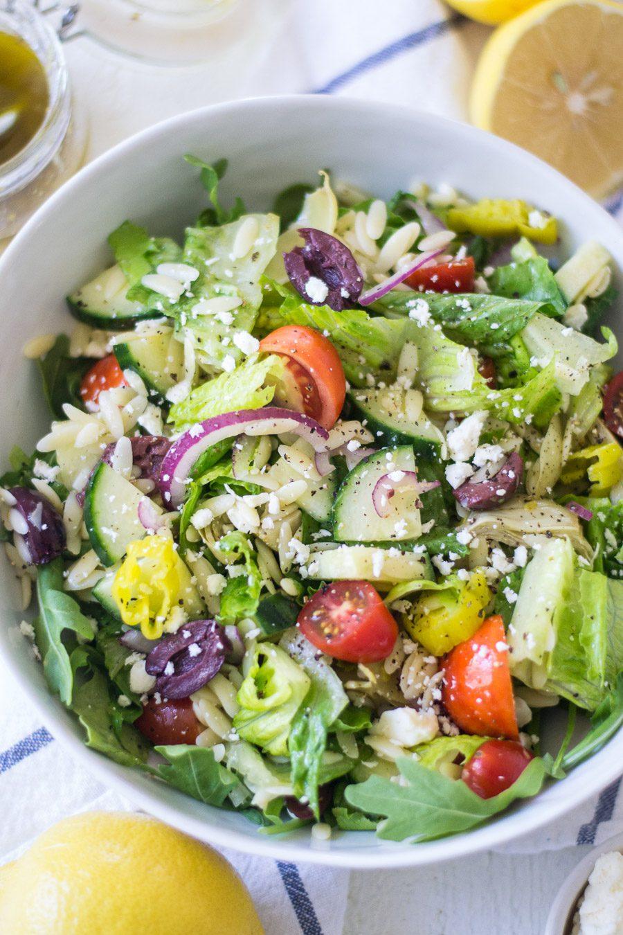 Lemon and Orzo Greek Salad | Sarcastic Cooking