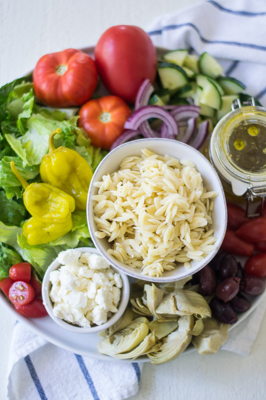 Lemon Greek Salad with orzo Ingredients | Sarcastic Cooking
